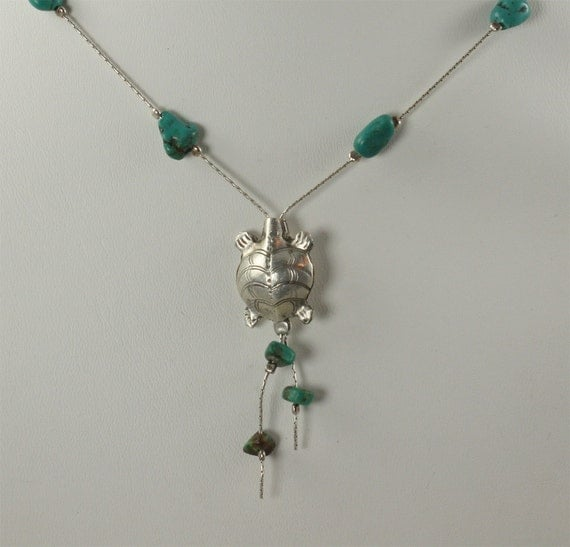 SALE Turtle Necklace Turquoise