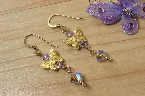 SALE Butterfly Earrings, Violet Crystal Earrings, Butterfly Earrings
