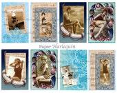 Printable Nautical Bathing Beauties Digital TAGS set Vintage Style BEACH Album, Scrapbook, Altered ART, Cards