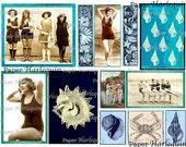 Vintage Digital Collage Beach Seashore Printable DIY Altered Art SCRAPBOOK Cards DECOUPAGE