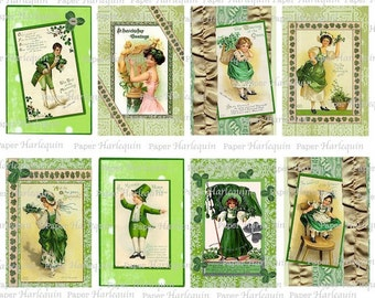 St. Patrick's Day Digital Collage Vintage Style TAGs Altered ART scrapBook cardMaking Shamrock Green