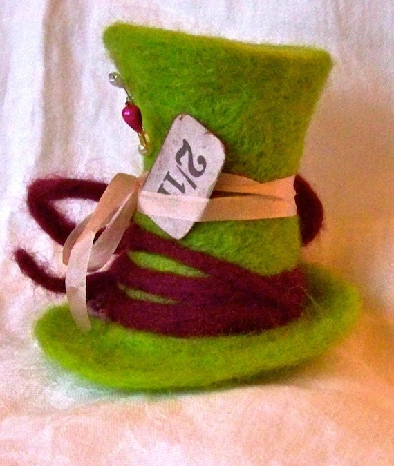Mad Hatter's Hat Whimsical Soft Sculpture OOAK Needle Felted Mini Showpiece