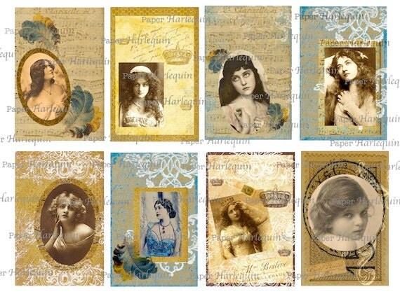Digital TAGS Set of 8 Belle Epoque Glamour Girls Luscious Gold, Sepia, Blue COLLAGE Scrapbook Altered ART