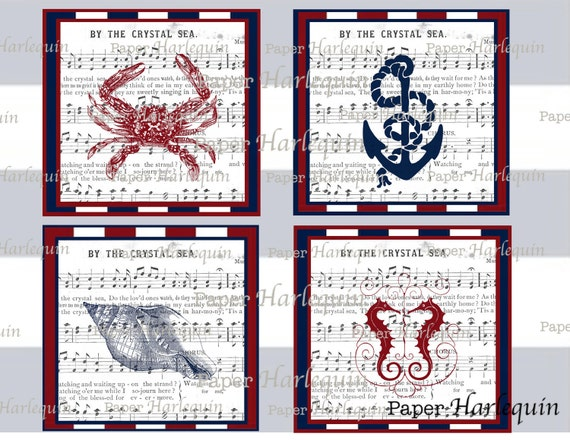 Nautical Printable DIGITAL 4X4 Collage Red, White and Blue Vintage Style SCRAPBOOK Coasters Decoration