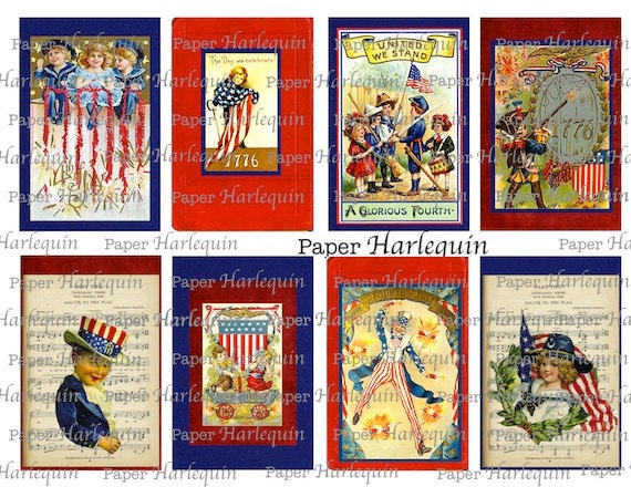 Patriotic Vintage Red, White and Blue Party TAGS, Cards, ALTERED ART, Scrapbook, Decoupage,
