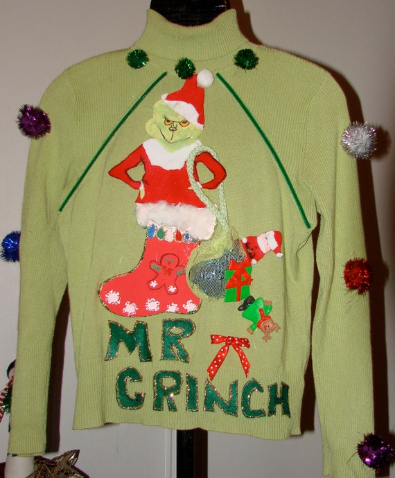 Ugly christmas sweater your a mean one mr grinch lime green sweater