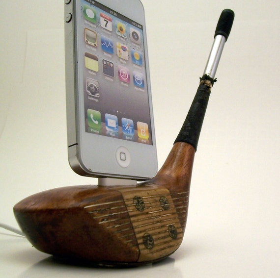 Vintage Wooden Golf Club iPhone Dock -ICN404
