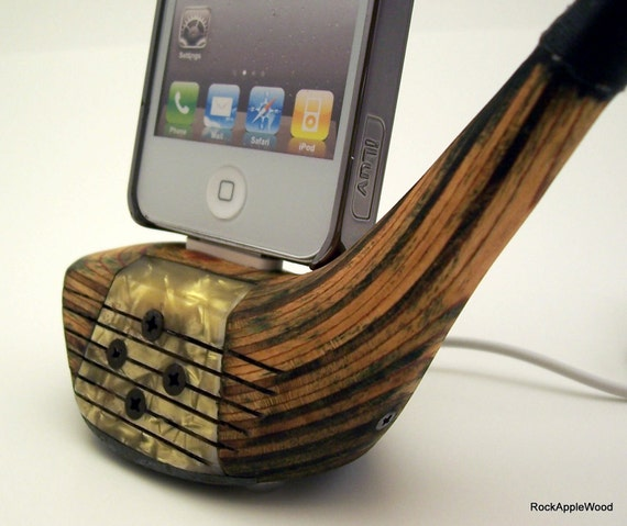 Refinished Vintage Wooden Golf Club iPhone Dock - ICN422