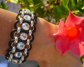 Black Leather Cuff Bracelet Swarovski Crystal Stunner Womens Jewelry