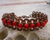 Dog Necklace Collar Red Swarovski Crystal Rhinestone Brown Leather size 9""