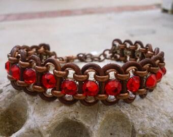 "Dog Necklace Collar Red Swarovski Crystal Rhinestone Brown Leather size 9"""