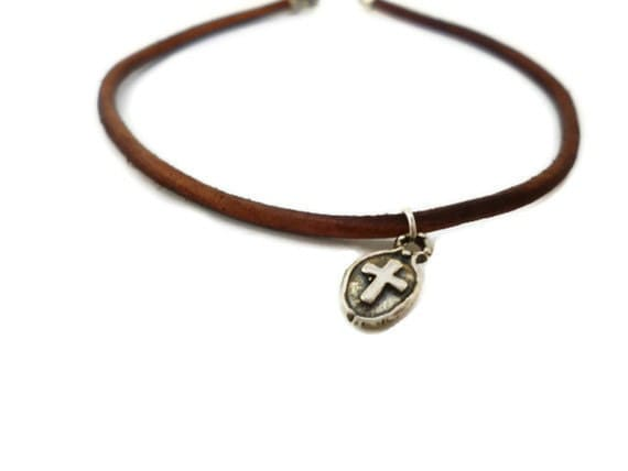 Simple Brown Leather Bracelet with Tiny Sterling Silver Cross Charm