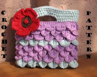 Girls Bag / Purse With Poppy , Crochet Pattern PDF,  Pattern No. 8