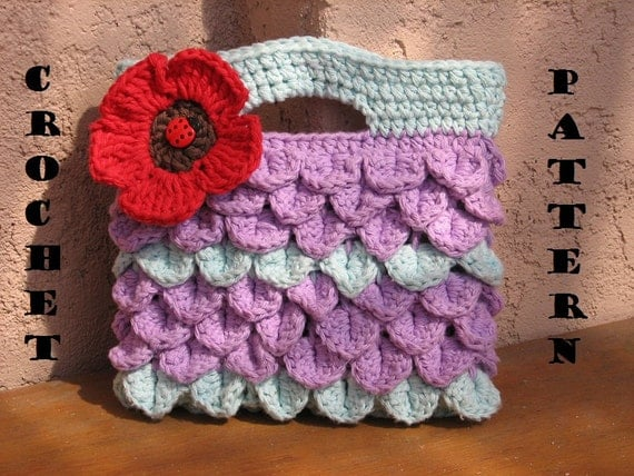 Girls Bag / Purse With Poppy , Crochet Pattern PDF,  Pattern No. 8