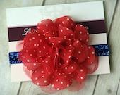 4th of July Baby Headband - Flower Headband - Red White and Blue - Newborn Headband - Toddler Headband
