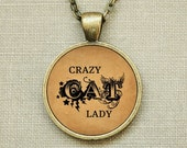 Rescue Jewelry - Bronze Necklace, Crazy CAT Lady Typography 25mm