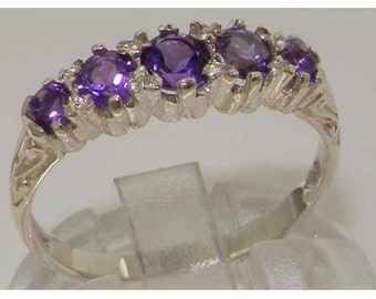 Solid 925 Sterling Silver Natural Amethyst Eternity Ring, 5 Stone Anniversary Ring - Made in England - Customize:9K,14K, 18K
