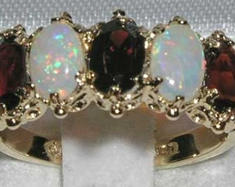 9K Yellow Gold English Victorian Style Natural Garnet & Colorful Opal 5 Stone Half Eternity Ring, Stackable Ring - Customize:14K,18K