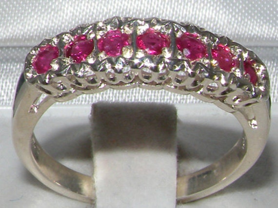 Solid 925 Sterling Silver Natural Pink Ruby Cluster Eternity Ring, 7 Stone Stackable Ring, English Vintage Design -Customize:9K,14K,18K