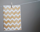 chevron blank note card set. copper.