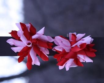 Pink Corker Bow, Red Corker Bow, Pink & Red Corker Bow, Corker Bows, Pig Tail Corker Bows, Pig Tail Bows