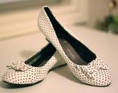 Ladies Meicaihong Wedge Kitten Heel Polka Dot Shoes Rockability Retro