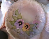 Vintage, Hand Painted Pansies Plate, Made in Germany, yellow purple pansy garden, Vintage Shabby Chic, Cottage