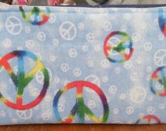 Peace symbol make up case or clutch