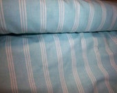 """Aqua With White Stripes 100%  King Cotton 3 Yards x 60"""" Wide"""