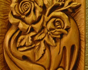 Woodcarving-The golden rose-handmade,OOAK