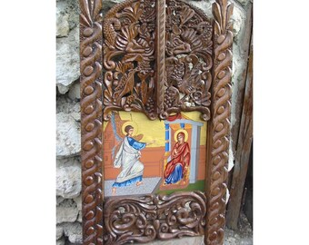 Woodcarving. Icon homestand-Annunciation, handmade, OOAK, free shipping