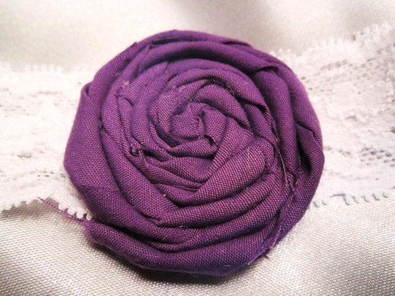 Purple spiral flower and lace headband