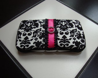 Diaper wipes travel case Damask print  Hot Pink and Black