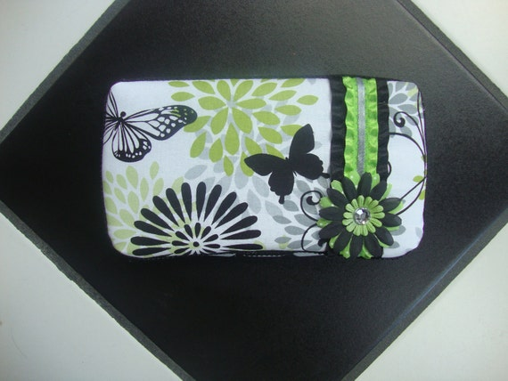 Diaper wipes travel case Black Gray White Lime Butterfly print Spring