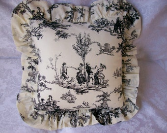 Black Toile Ruffled Pillow Cover - Handmade Country French DecorativeThrow Pillow