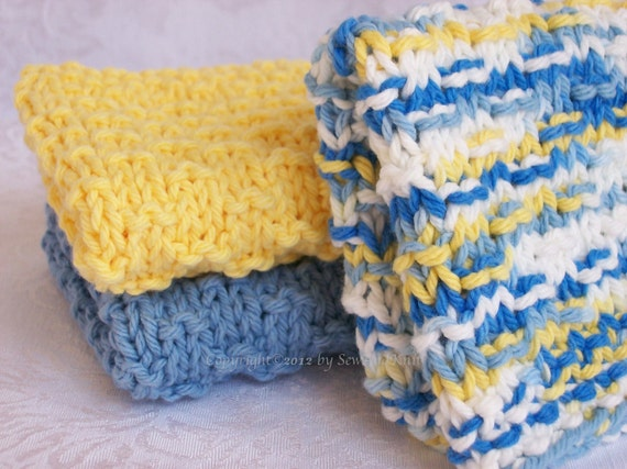 Country French Hand Knit Dish, Wash, Face, Spa Cloth Collection in Blue, Yellow & Ombre - Set of Three Hand Knit Cotton Cloths