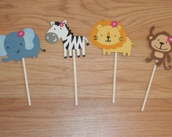 12 Girl Themed Jungle Animal Cupcake Toppers