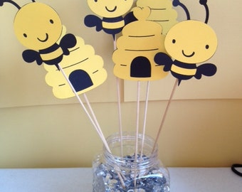 6 Piece Bumble Bee Centerpiece Sticks Birthday Baby Shower Mommy To