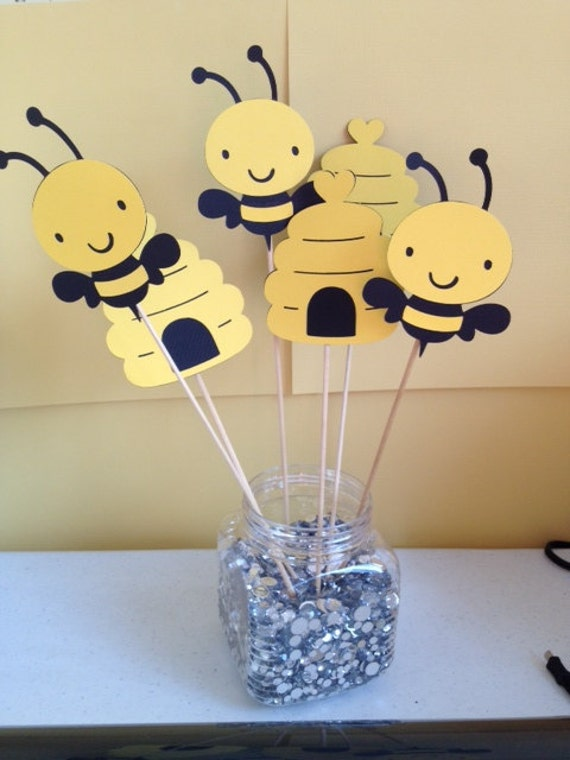 6 Piece Bumble Bee Centerpiece Sticks Bee Birthday Bee Baby