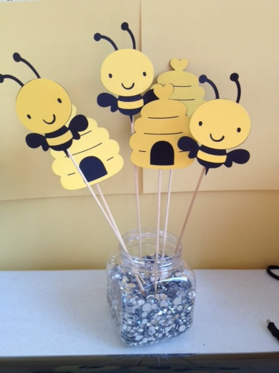 6 Piece Bumble Bee Centerpiece Sticks Birthday Baby