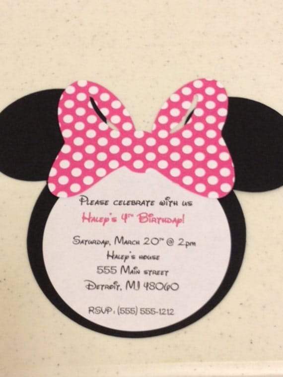 10 Handmade Minnie Mouse Invitations Polka Dot Bow