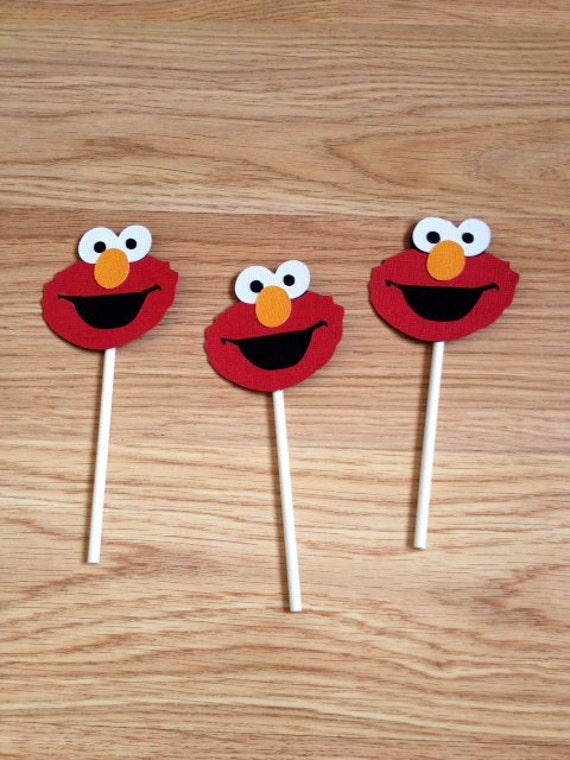 12 Elmo Cupcake Toppers, Elmo Birthday, Elmo Decorations, Elmo Cake topper, Elmo First Birthday, First Birthday, Elmo Cupcake Decorations