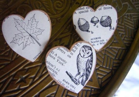 Wooden Brooch - Owl, Acorn, Maple Leaf Set of Three Vintage Dictionary