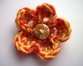 Flower Brooch: little orange and yellow crocheted flower brooch with red / yellow wooden button