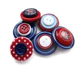 Red, White and Blue Button Magnets: patriotic button magnets, plastic / acrylic buttons mix, set of 6