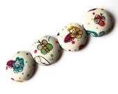 Liberty Fabric Button Magnets: butterflies and flowers Liberty fabric magnets, set of 4