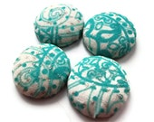 Turquoise Fabric Button Magnets: turquoise, white and silver paisley fabric magnets, set of 4