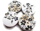 Monochrome Wooden Button Magnets: big black and white button magnets, wooden buttons, set of 4