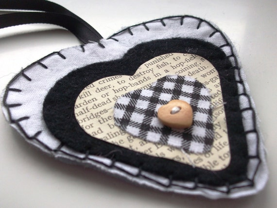 Layered Black & White Heart: A hand sewn hanging heart, mixed materials fabric decoration / gift tag.