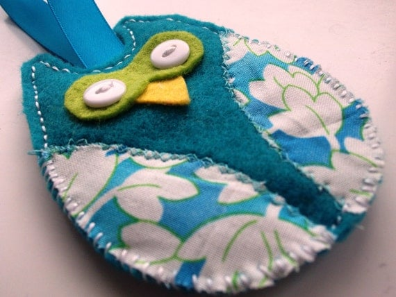 Turquoise Owl: hanging turquoise, lime green and white felt owl, hanging ribbon.